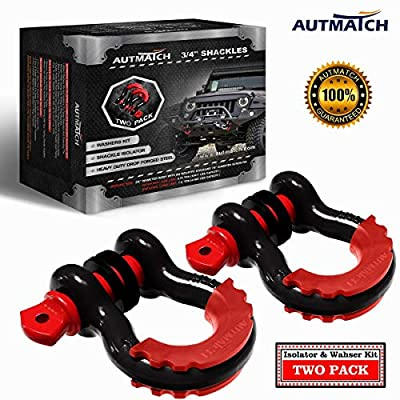 """AUTMATCH Shackles 3/4"""" D Ring Shackle (2 Pack) 41,887Ib Break Strength with 7/8"""" Screw Pin and Shackle Isolator & Washers Kit for Tow Strap Winch Off Road Towing Accessory Jeep Vehicle Recovery"""