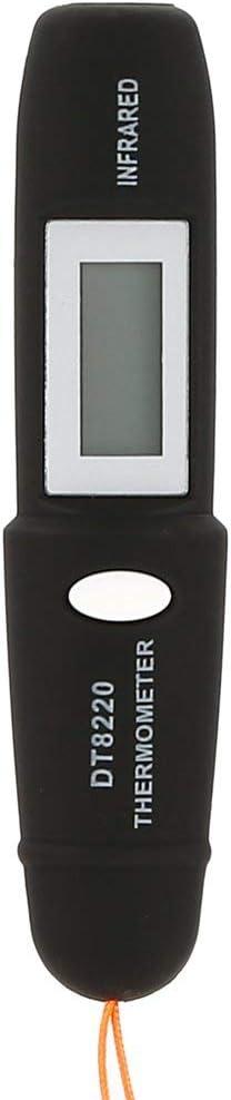 DF-FR DT8220 Num/érique LCD Mini Thermom/ètre Infrarouge Indicateur de Temp/érature Testeur Rouge Laser Poche Stylo Pyrom/ètre sans Contact M/énage Noir