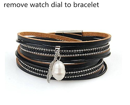 MINILUJIA-Vintage-Casual-Women-Leather-Watch-Feather-Wrap-Cuff-Bangle-with-Pearl-Magnetic-Clasp