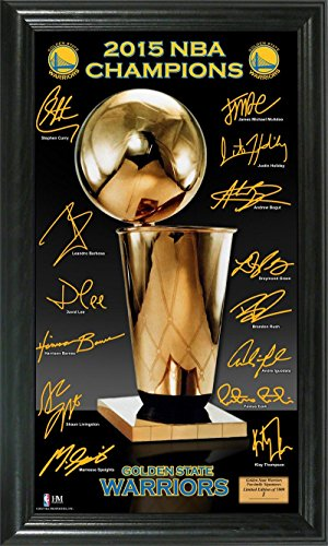 - The Highland Mint NBA Golden State Warriors 2015 Finals Champions Trophy Signature Photo, Black, 22