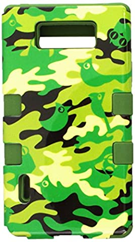 MYBAT Hybrid Phone Protector Cover for LG Splendor/US730/Venice/Optimus Showtime/L86C - Carrying Case - Retail Packaging - Green Woodland Camo/Army (Phone Cases For Lg L86c Optimus)