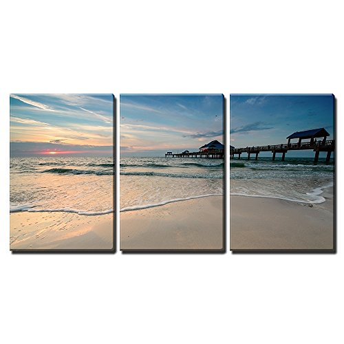 "Wall26 - 3 Piece Canvas Wall Art - Sunset near Pier 60 on a Clearwater Beach, Florida, Usa - Modern Home Decor Stretched and Framed Ready to Hang - 24""x36\""x3 Panels"