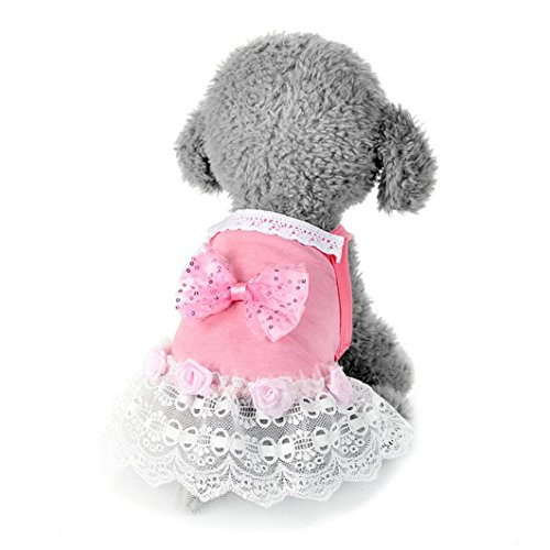 [Makalon Dog Cat Dress Lace Skirt Pet Princess Costume Apparel (M, Pink)] (4xl Santa Costume Uk)