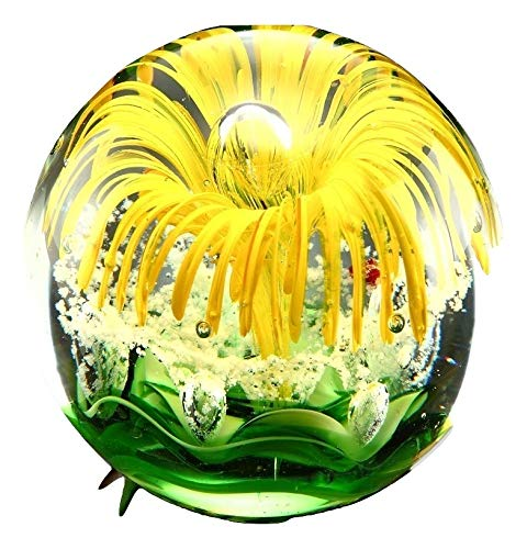 Yellow Flower Paperweight Glass Sphere 3.5'' by Wirezoll