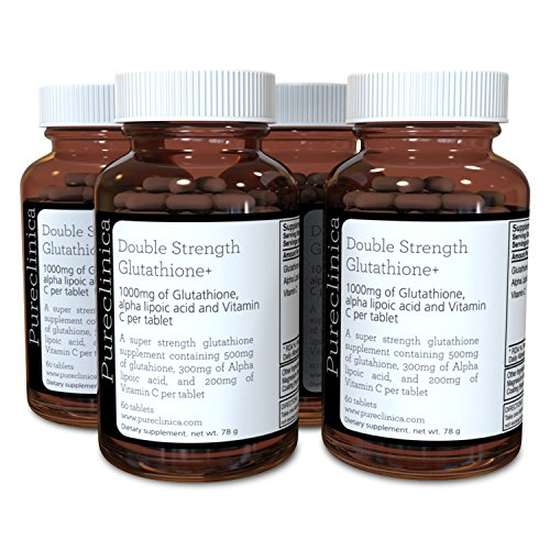 Double Strength Glutathione 500mg x 60 Tablets - 4 Bottles (240 Tablets) - 4 to 8 Months Supply. with Vitamin C and Alpha Lipoic Acid. Powerful Anti-oxidant and Skin Whitener. SKU: GLU3x4