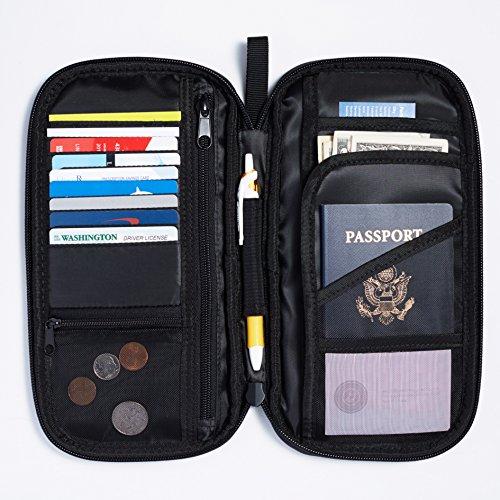 513Z7sKm31L - AmazonBasics RFID Travel Passport Wallet Organizer - 10 x 5 Inches, Black