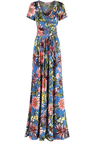 Bon Rosy Women's #MadeInUSA Short Sleeve V-Neck Printed Maxi Faux Wrap Floral Print Dress Summer Wedding Guest Party Bridal Baby Shower Maternity Nursing Blue M