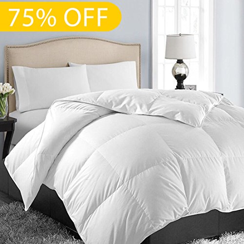 Soft Goose Down Alternative Comforter Luxury Hotel Collection Reversible Duvet Insert with Corner Tab,Warm Fluffy for All Season,White,Twin,64 by 88 Inches