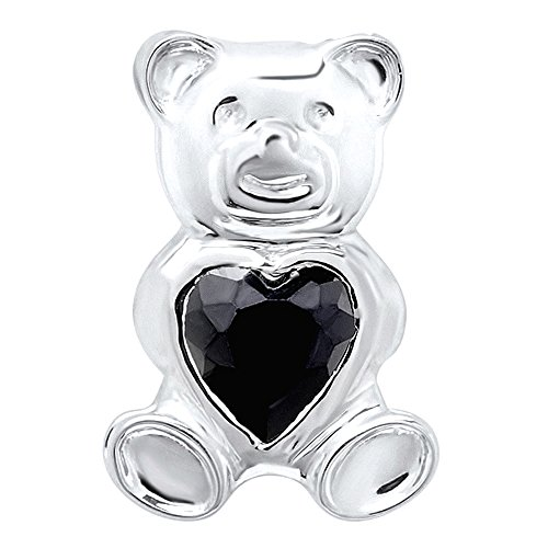 Dazzlingrock Collection Ladies Teddy Bear With Black CZ Cubic Zirconia Pendant, Sterling Silver