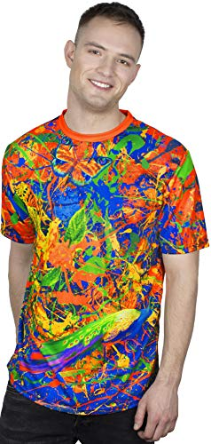 aofmoka Neon Abstract Splash Bodypaint Face Rave Favors Colored Short Sleeve Tee