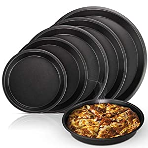 Arikaree Set 5 Teglie per Pizza Rotonde, teglia Forno Pizza Professionale. Teglia Pizza in Alluminio, Antiaderente…