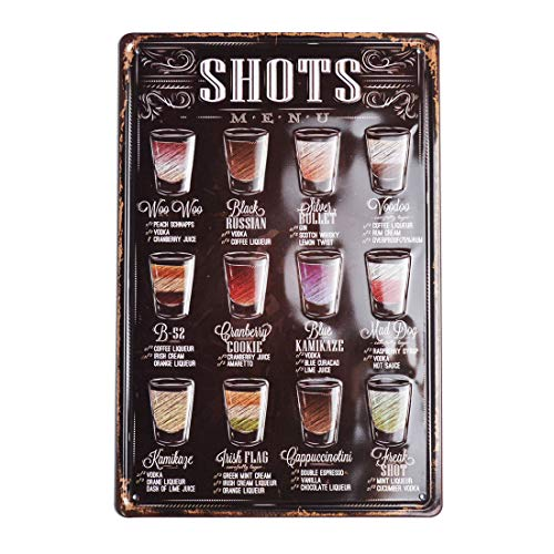 3D Embossed Tin Signs, Shots Menu, Wall Metal Posters Plaques for Home Bar Kitchen Garage Man Cave, 8'x12'/20x30cm