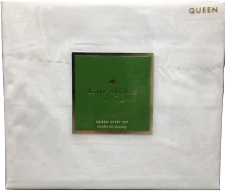 Kate Spade Larabee Dot White Sheet Set Queen