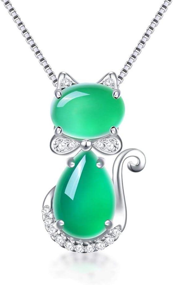 LSY Exquisito natural calcedonia verde piedras preciosas gatito collar mujer plata de ley 925 colgante de clavícula cadena del cuello accesorios de joyería simple