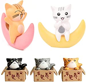 Neko 5pcs Miniature Cats in Boxes & Crescent Moon Figurines - Micro Garden Landscape Ornament Decorations – Cute Lucky Cat DIY Figures for Crafts and Home Decor