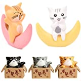 Neko 5pcs Miniature Cats in Boxes & Crescent Moon Figurines - Micro Garden Landscape Ornament Decorations - Cute Lucky…