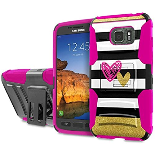 AT&T [Galaxy S7 Active] [5.2 Screen] Armor Case [SlickCandy] [Black/ Hot Pink] Heavy Duty Defender [Holster] [Kick Stand] Phone Case - [Chevron Hearts] Sales