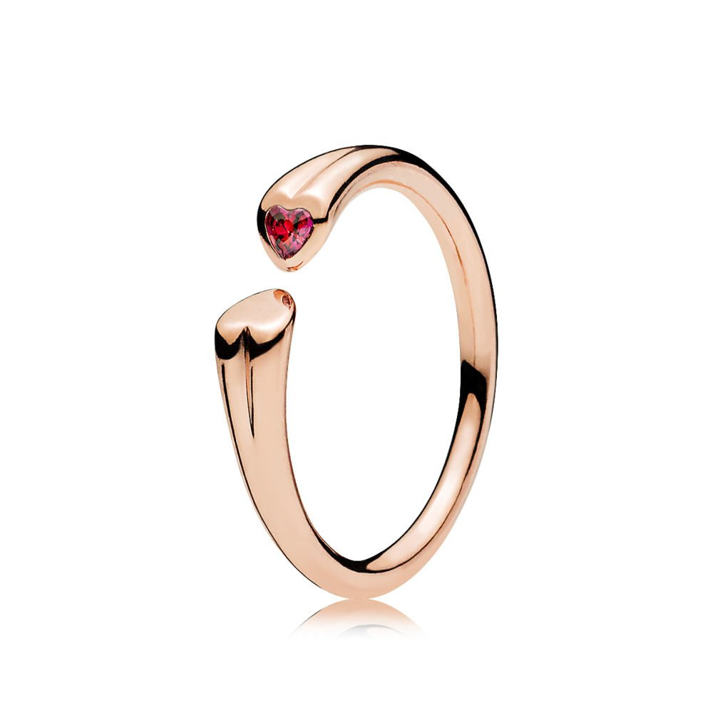 1b8021fc7 Amazon.com: PANDORA Two Hearts Open Ring in PANDORA Rose W/ 1 Flush-Set  Heart-Shaped Red CZ 186570CZR-58, 8.5 US: Jewelry