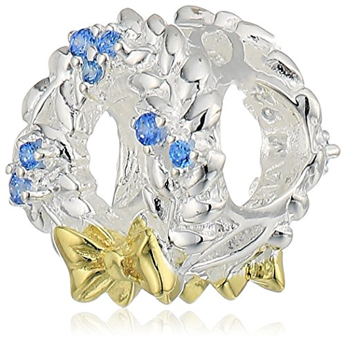 Chamilia frosty wreath - light blue swarovski zirconia with gold electroplating charm