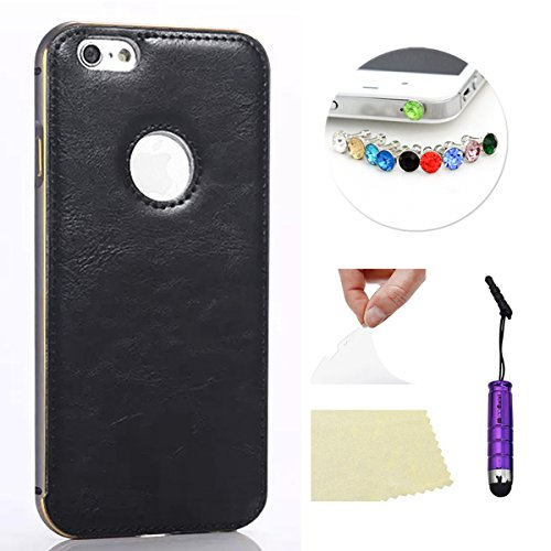 iPhone 6 Plus 5.5 pulgada Funda Case LifeePro Stylish 2 in 1 Patrón de teléfono híbrido Caballo Loco [Anti-rasguños] [Antideslizante] Resistente a los golpes PU Cuero Negro Contraportada + Caja de par Gris