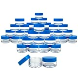 Beauticom 600 Pieces 20G/20ML Round Clear Jars with Blue Lids for Make Up Powder, Eyeshadow Pigments, Lotion, Creams, Lip Balm, Lip Gloss, Samples - BPA Free