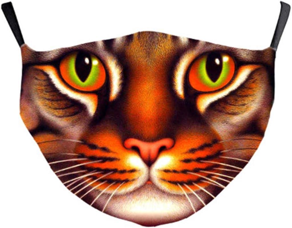 Mundschutz mit Motiv Katze Hund Schwein L/öwe Tiger Faultier Tiermotiv 3D Lustig Mund und Nasenschutz Waschbar Damen Herren Animal Halloween Weihnachten Multifunktionstuch Bandana Halstuch