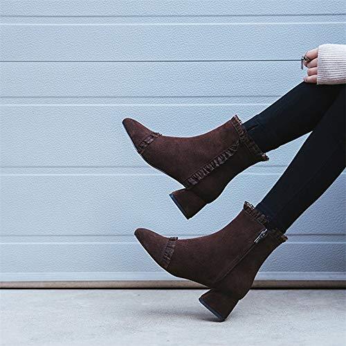 Damenschuhe Schuhe Rüschen Kopf und Reißverschluss Herbst Flache Women's Runden Elegante Baumwolle High High Winter Heels HCBYJ Martin Stiefeletten Heels und Schuhe q787R