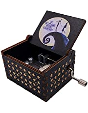 Youtang Hand Crank Musical Box The Nightmare Before Christmas Carved Wood Music Box Painted Musical Gifts for Fans(White-Black)