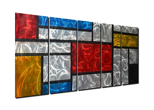 Winpeak Art Colorful Aluminum Metal Wall Art Abstract Modern Contemporary Decor Painting Large Indoor and Outdoor Decorative Artwork for Home Decoration (64''W x 24''H (12''x24'' x5 panels)) by Winpeak Art