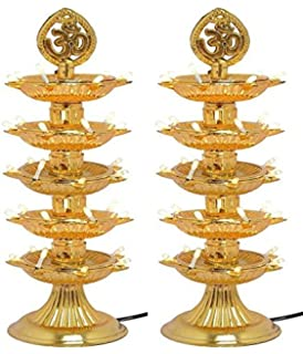 STARVIN� Premium 5 Layer New Electric Gold LED Bulb Lights Diya|Deep|Deepak for Pooja|Puja|Mandir| Diwali Festival Decoration||Pack of 2||  D-05