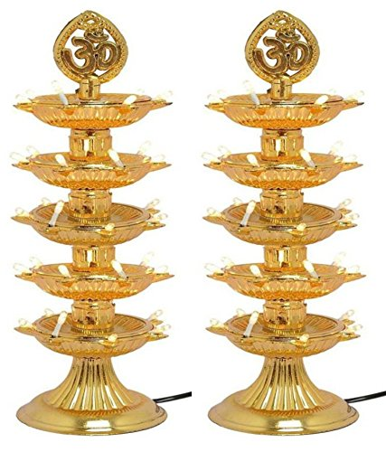 Varshine® Premium 5 Layer New Electric Gold LED Bulb Lights Diya|Deep|Deepak for Pooja|Puja|Mandir| Diwali Festival Decoration||Pack of 2|| D-01