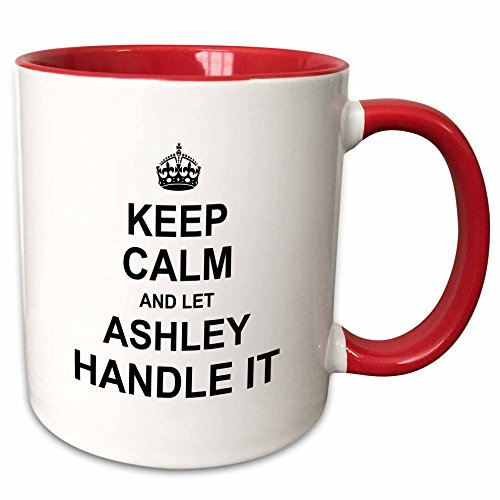 3dRose 233349_5 Keep Calm And Let Ashley Handle It - Funny Personal Name Ceramic Mug, 11 oz, Red/White