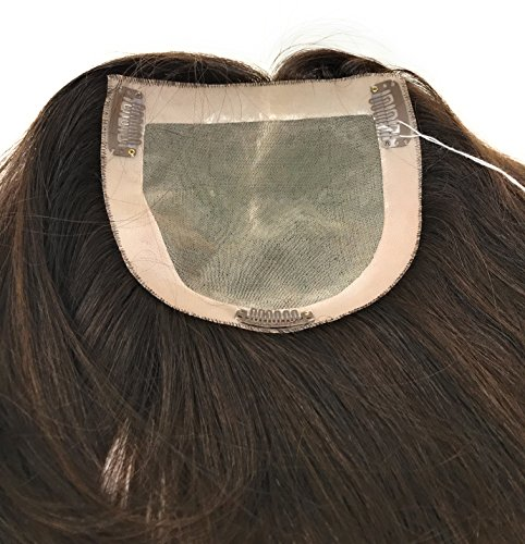Price comparison product image 18 inch Long Straight Real Natural Human Hair – Women's Kippah Topper - Monofilament Bondable Hairpiece Closure / Cover Color #4/6 Dark Brown W/ Highlights