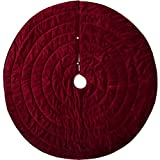 VHC Brands Christmas Decor-Velvet Holiday Tree Skirt, Red
