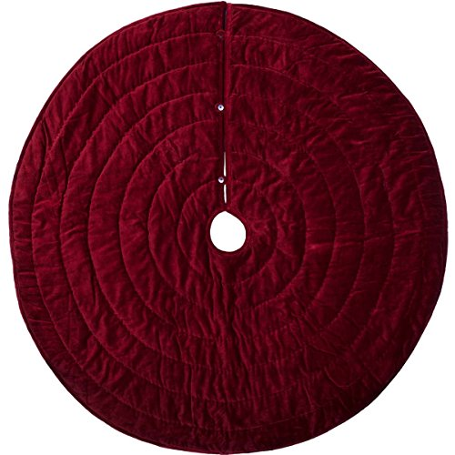 (VHC Brands Christmas Decor-Velvet Holiday Tree Skirt, Red)