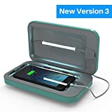 PhoneSoap 3 UV Cell Phone Sanitizer and Dual Universal Cell Phone Charger   Patented and Clinically Proven UV Light Sanitizer   Cleans and Charges All Phones - Aqua
