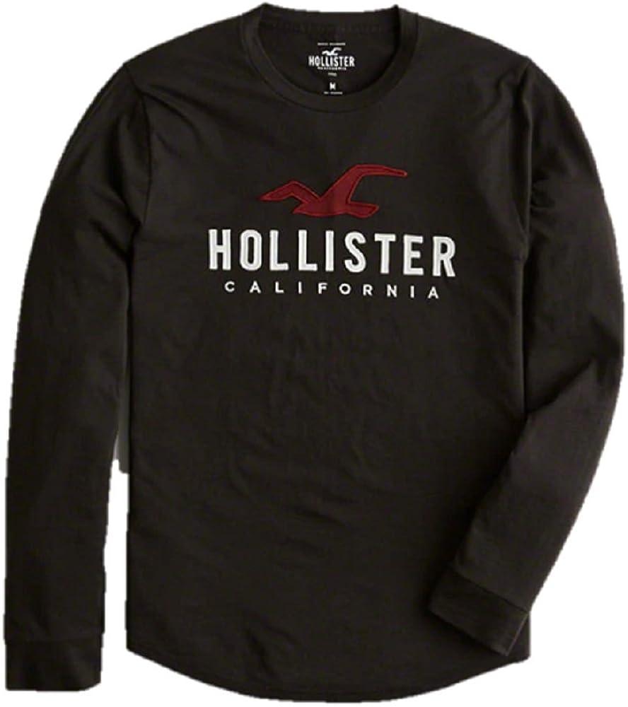 Hollister - Camiseta de Manga Larga - para Hombre Negro Negro (Small: Amazon.es: Ropa y accesorios