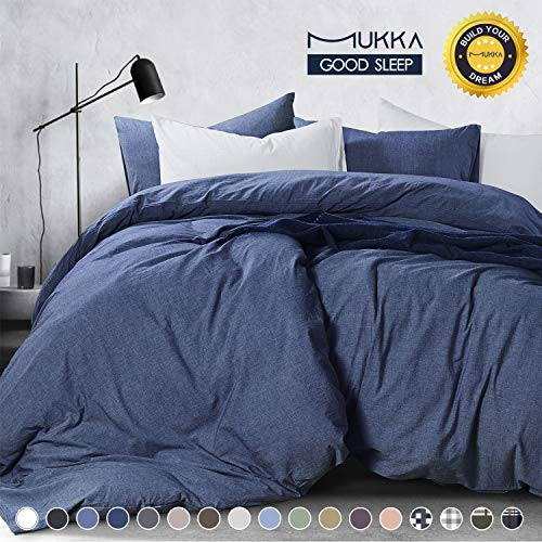- MUKKA Duvet Covers Denim Blue Set King,100% Washed Long-Staple Cotton Duvet Cover, Bedding Comforter Cover Set with YKK Zipper- Ultra Soft, Moisture Absorbing and Easy Care