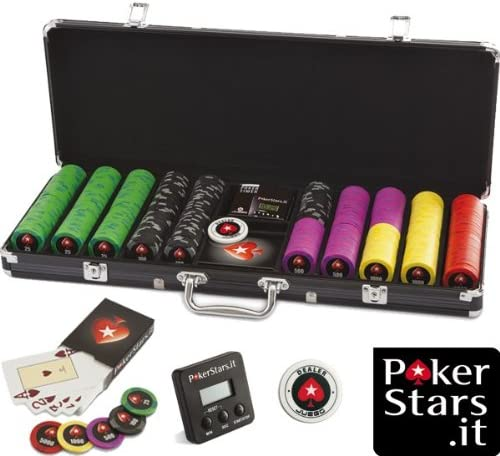 Maletin Poker 500 fichas - Profesional PokerStars + cartas de poker + timer poker + Dealer Button + chips: Amazon.es: Juguetes y juegos