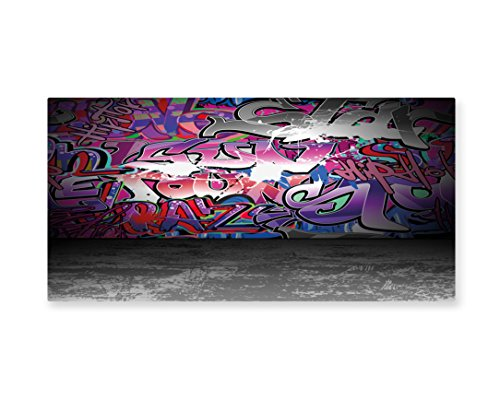 Lunarable Graffiti Wall Art, Urban Life Grunge Street Art Wall Backdrop with Hip Hop Funk Figures Design, Gloss Aluminium Modern Metal Artwork for Wall Decor, 23.5 W X 11.6 L (Hip Hop Costume Images)