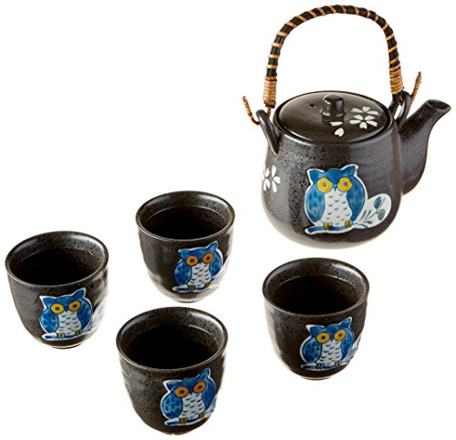 Happy Sales HSTS-OWBK06, Japanese Design Black Porcelain Tea Set Owl]()