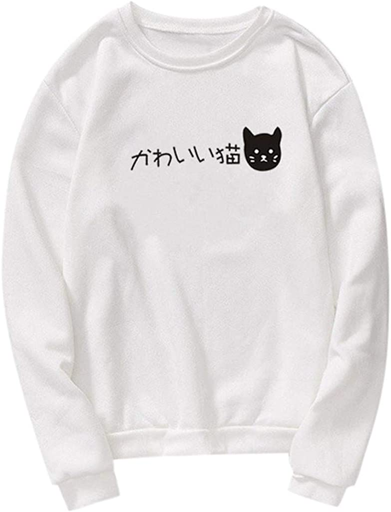 Unisex Men Women Casual Long Sleeve O-Neck Cat Printed Sweatshirt Pullover