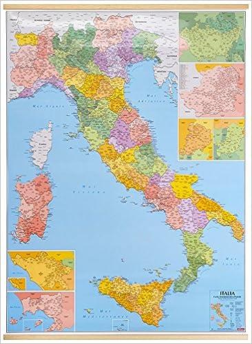 Italia Cartina Con Province.Amazon It Italia Amministrativa Con Codici Postali Delle Province 1 900 000 Libri