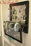 On Sale!!! You Pick the Stain Wall Mounted Jewelry Organizer with a Bracelet Bar and Stud Earring Holder