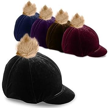1d7e2390f1e Black Capz Velour Soft Velvet Skull Equestrian Riding Hat Cover with Faux  Fur Pom Pom AND