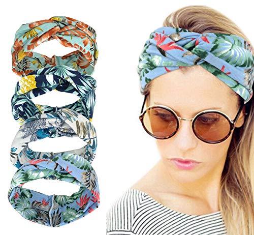 Women Boho Headband - Vintage Headbands Turban Hair Band Floral Printed Headband Elastic Cross Twisted Head Wrap For Womens Girls