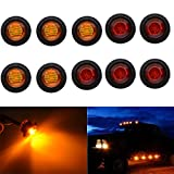 TUINCYN 3/4 Inch Amber + Red Round LED Indicator Light Bulbs Bullet Shaped Front Rear Side Markers Clearance Marker Light Tail Light Used for Car Trunk.(5-Pack Amber, 5-Pack Red)