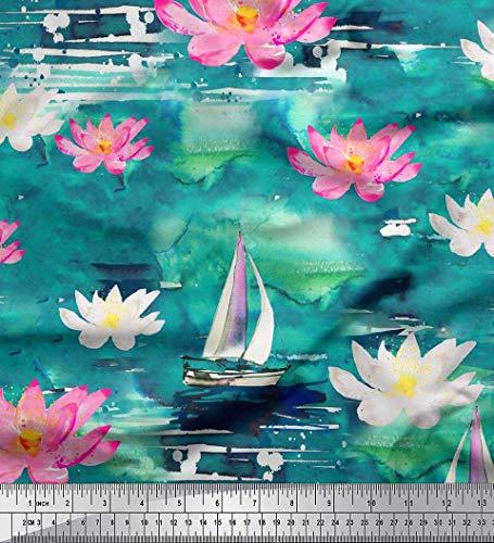 Soimoi Green Silk Fabric Yacht & Waterlily Flower Print Fabric by The Yard 42 Inch Wide