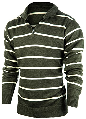 Enimay Men's Business Casual Fashion Half Zip Striped Long Sleeve Sweater Jacket Grey (Half Zip Striped Sweater)
