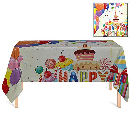 SATVSHOP Square Tablecloth /60x84 Rectangular,Birthday rations Heart Shaped Funny Balloons Cupcakes Candies Presents and Party Hats for Wedding/Banquet/Restaurant.